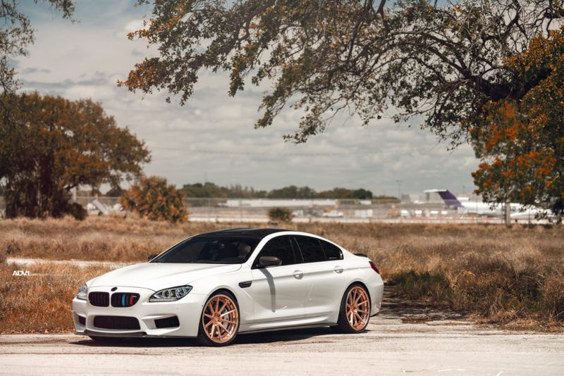 alpine white bmw m6 rose gold concave forged adv1 wheels rims k 830x554