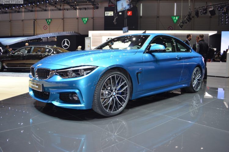 2017 BMW 4er F32 LCI Facelift Coupe 440i Snapper Rocks Blue Genf Live 15 750x500